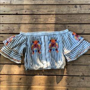 Forever 21 off shoulder embroidered top